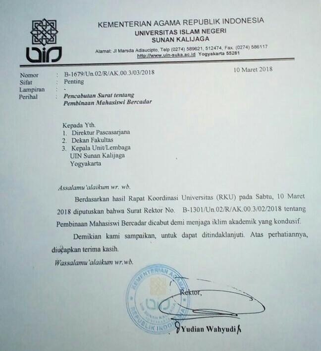 Rektor UIN: Surat Pembinaan Mahasiswi Bercadar Dicabut